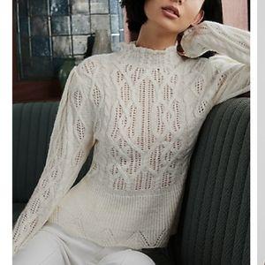 Express cream pointelle sweater
